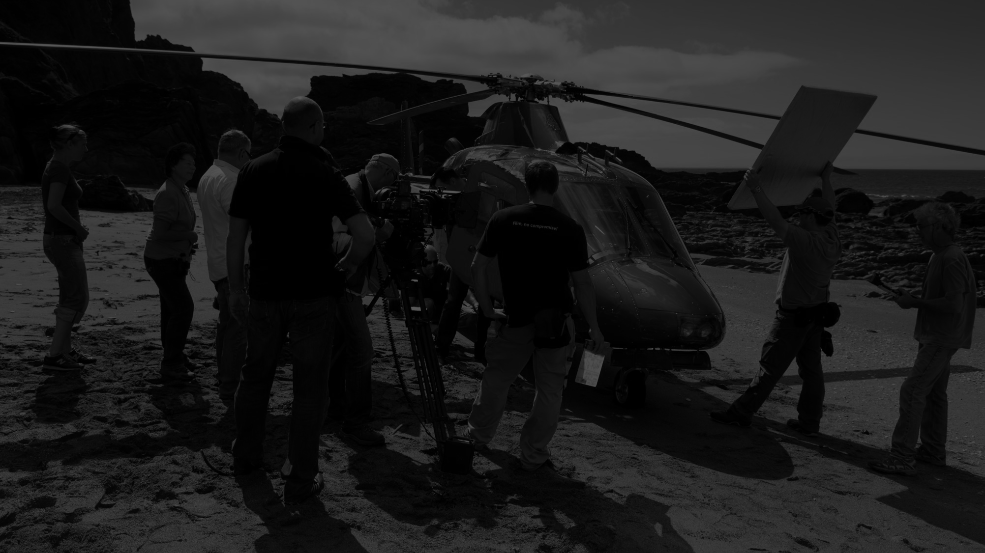 photography team photographing a helicopter
