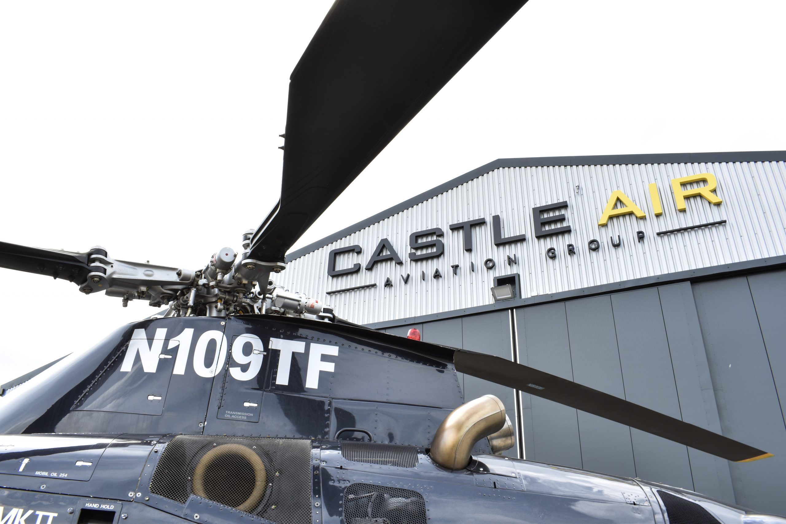 helicopter rotor outside castle air building