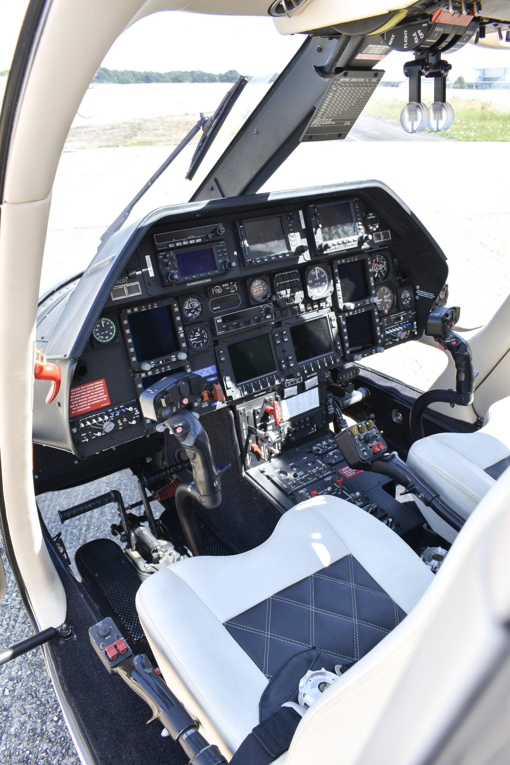 grounded helicopter showing cockpit