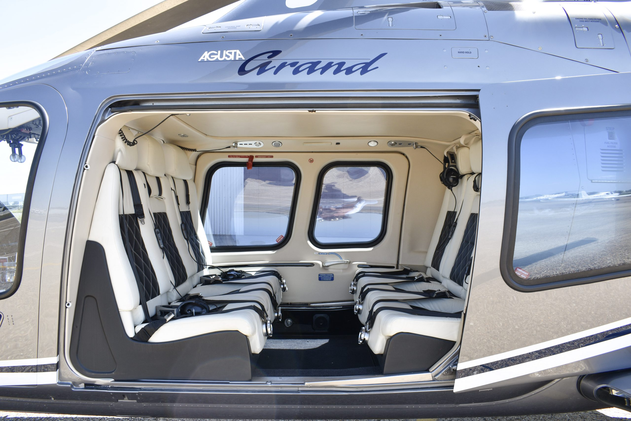 grounded helicopter showing interior