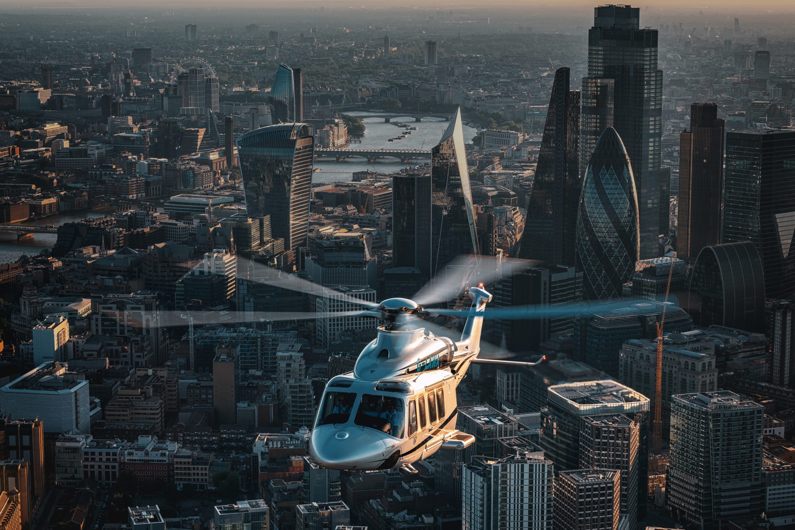 helicopter flying over London